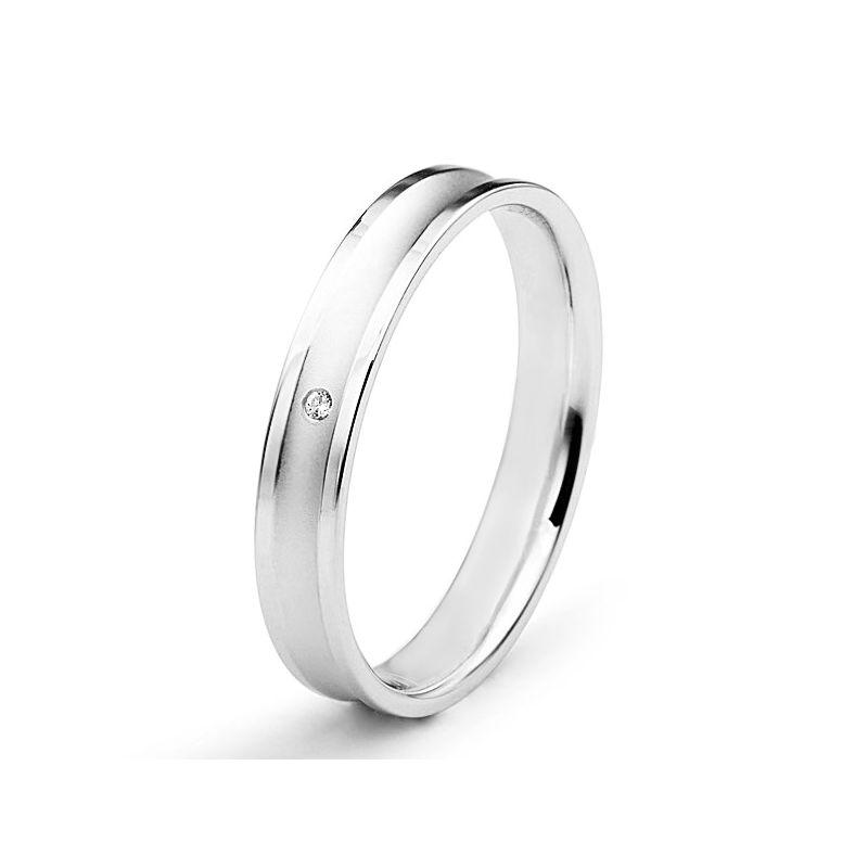 Alliance Femme platine et diamant - Incurvation précieuse