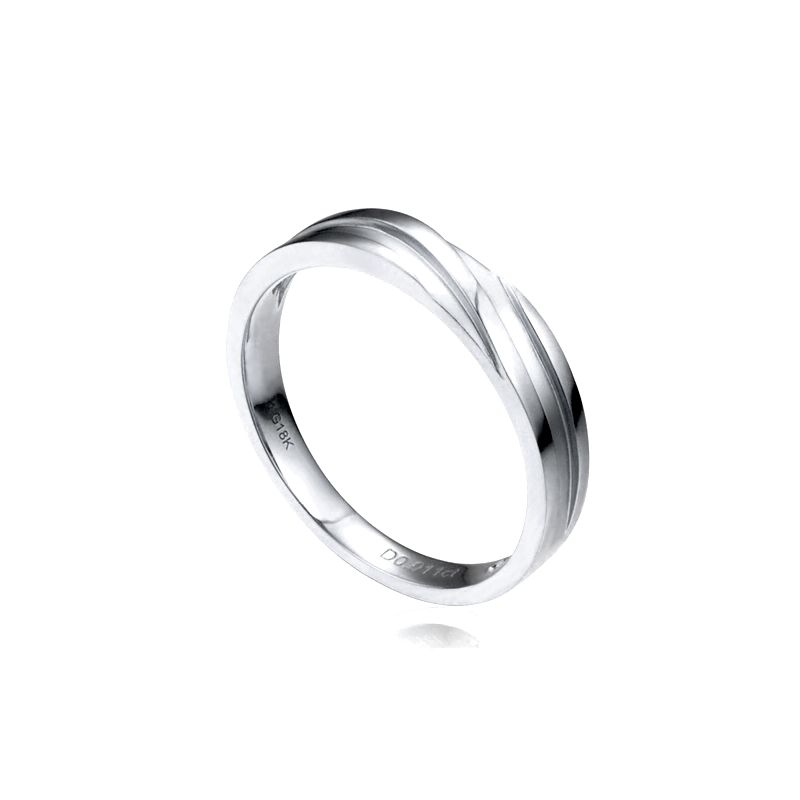 Alliance homme or blanc stylé en diagonale. Diamant clos 0.010ct