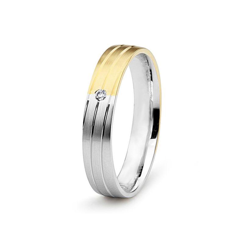 Alliance de mariage rainure - 2 ors - Diamant serti clos - Femme