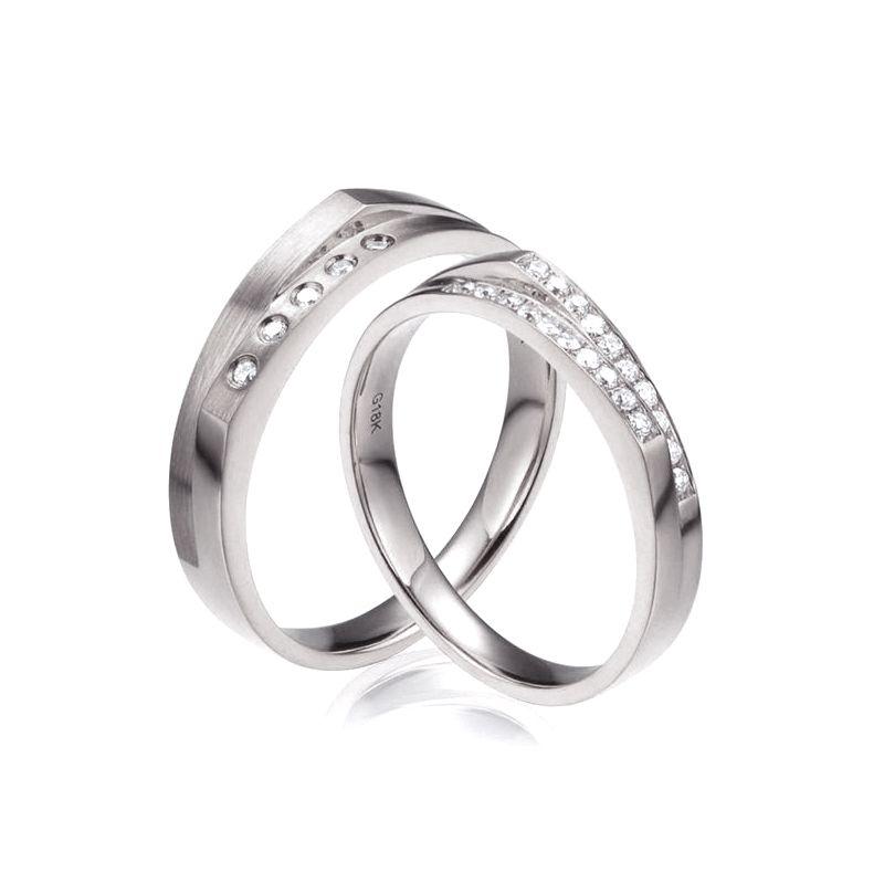 Alliances Homme et Femme en Or Blanc 18cts et Diamants