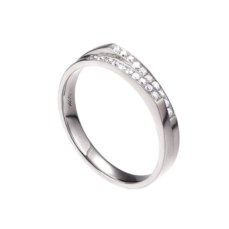 Alliance mariage 2 anneaux en 1. Femme moderne Or blanc