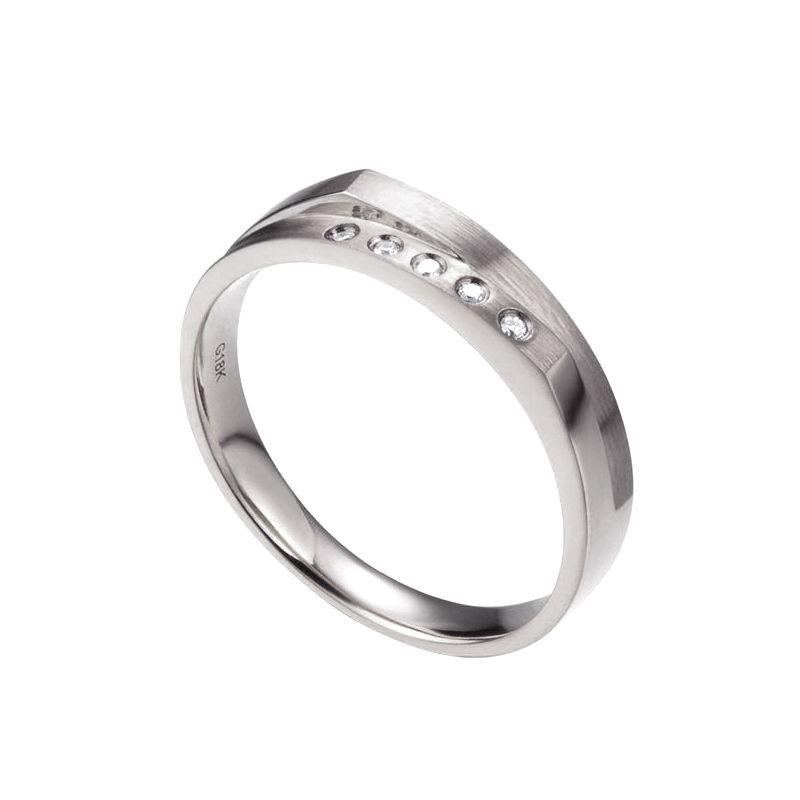 Alliance mariage 2 anneaux en 1. Homme moderne Or blanc