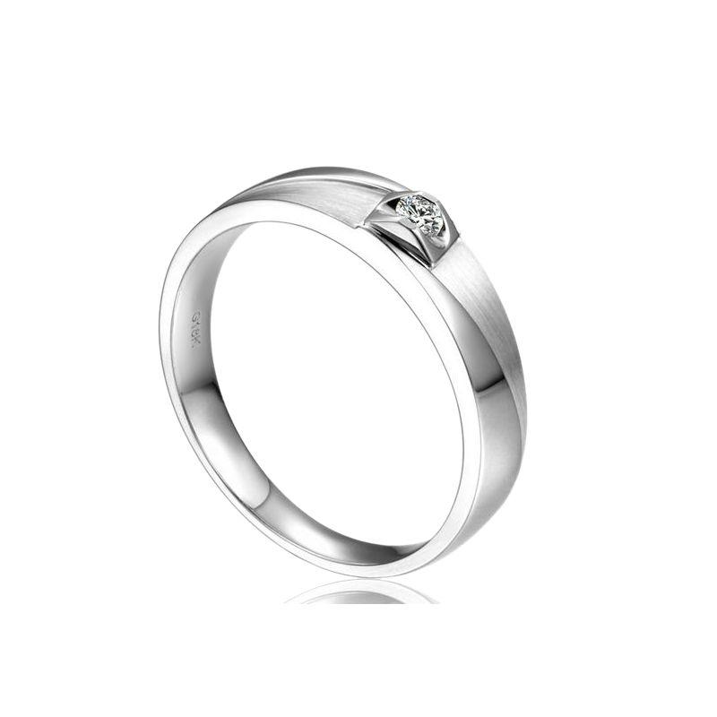 Alliance brossée et polie Or blanc, diamant. Femme