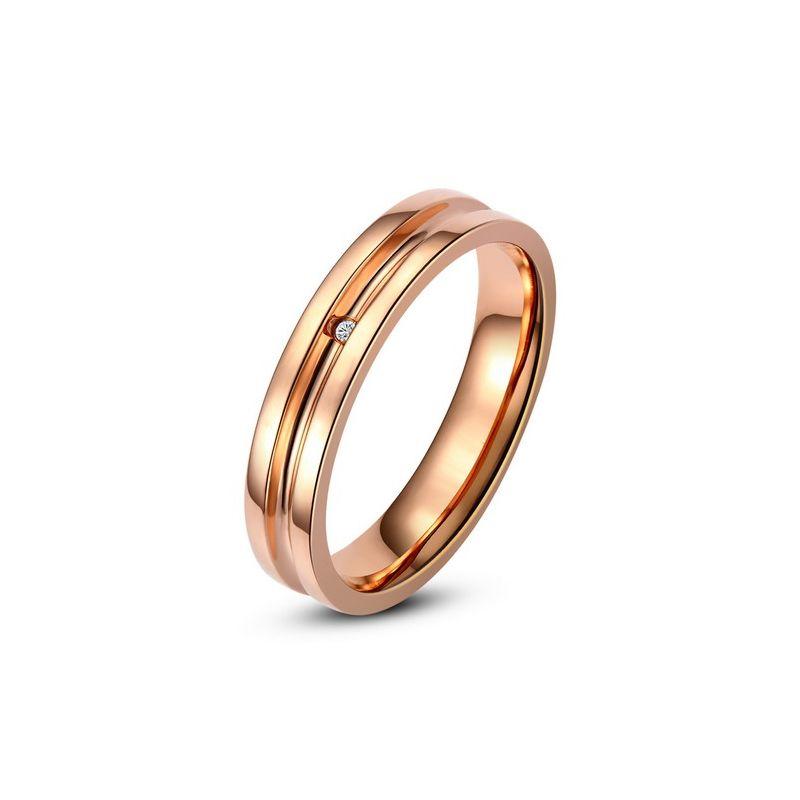 Bague alliance Femme - Anneau diamant or rose