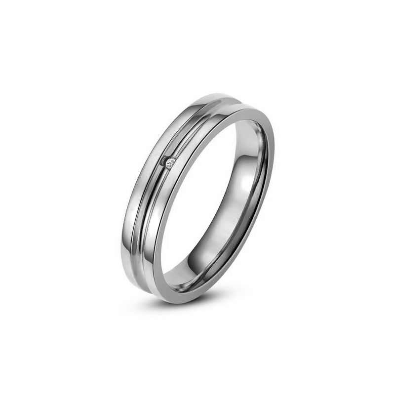 Bague alliance Femme - Anneau diamant or blanc