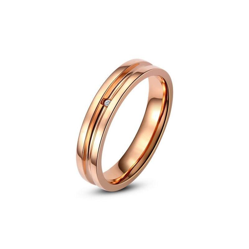 Bague alliance Homme - Anneau diamant or rose
