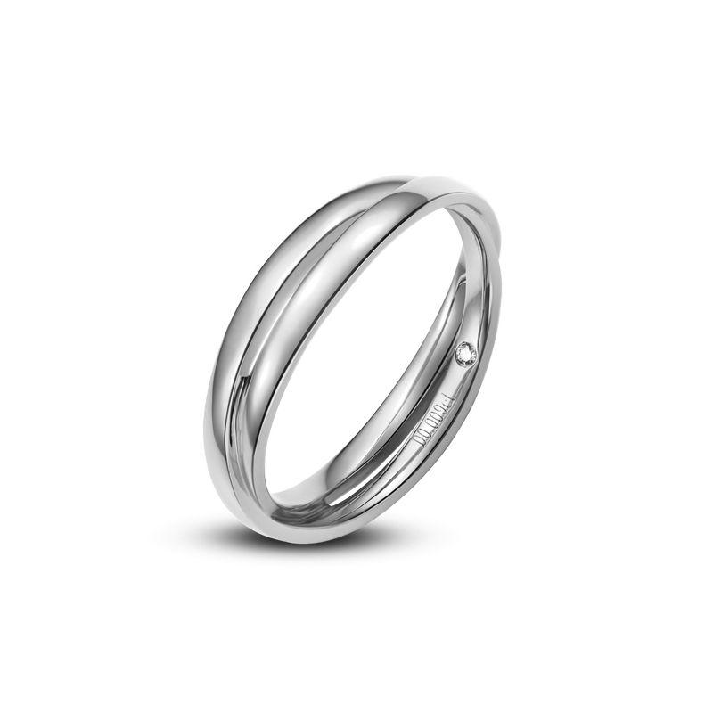Extrêmement Alliance 2 anneaux. Alliance Femme. Or blanc et Diamant JC02
