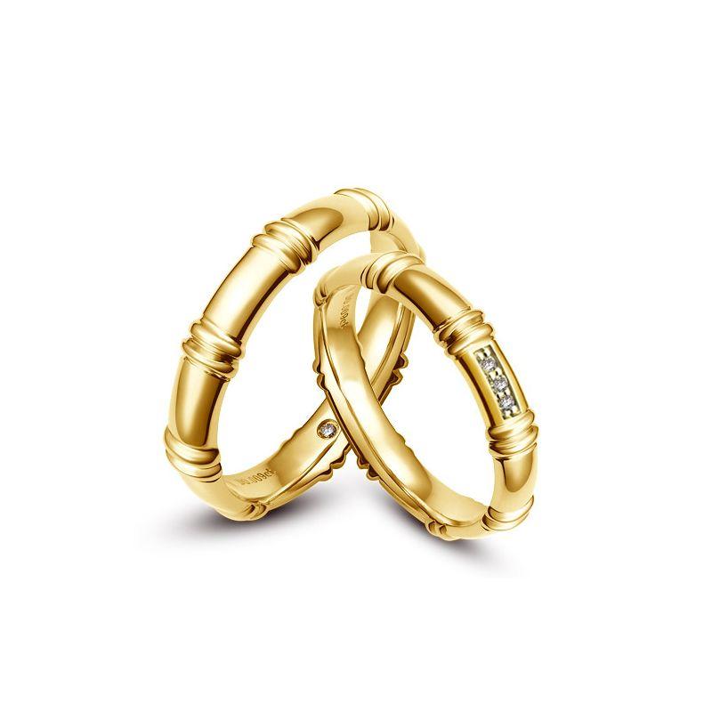 Alliances en or jaune 18 carats - Alliances diamants pour couple
