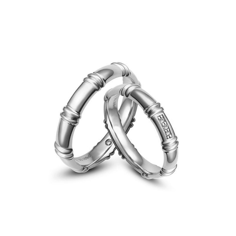 Alliances en or blanc 18 carats - Alliances diamants pour couple
