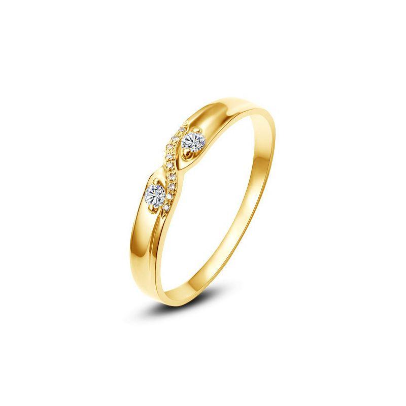 Alliance mariage diamants - En or jaune - Pour Femme