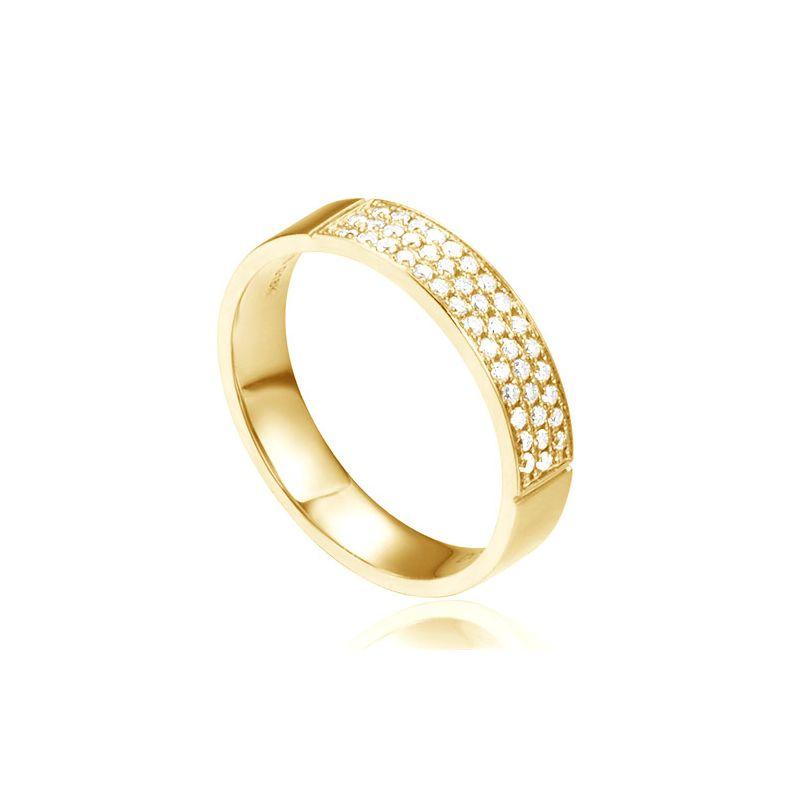 Alliance or jaune pour Femme - Pavage de 43 diamants