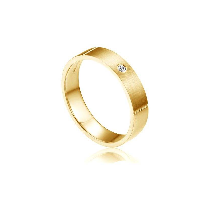 Alliance or jaune pour Homme - Diamant sertissage clos