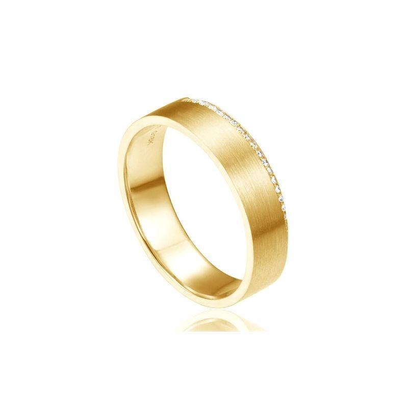 Alliance or jaune brossé 18cts pour Femme -  Liseré de 19 diamants