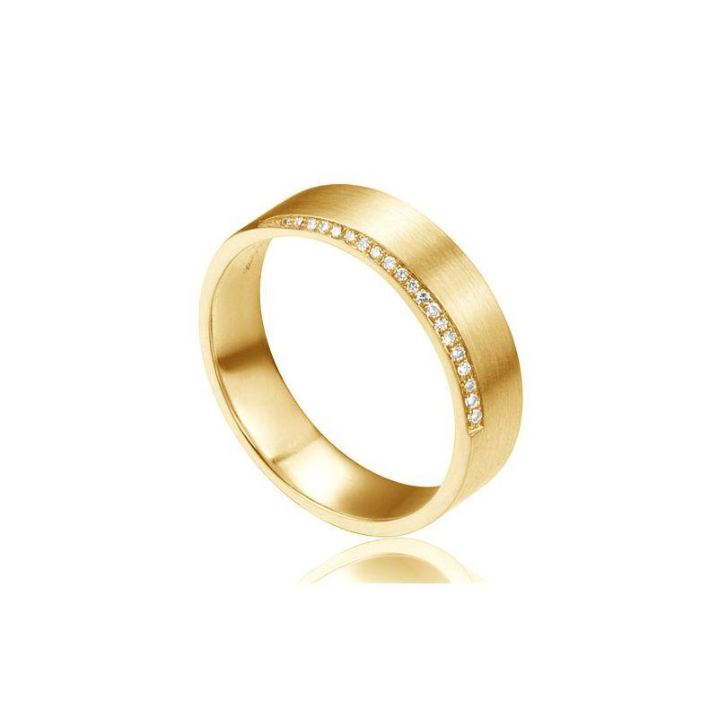 Alliance or jaune brossé 18cts pour Homme -  Liseré de 20 diamants