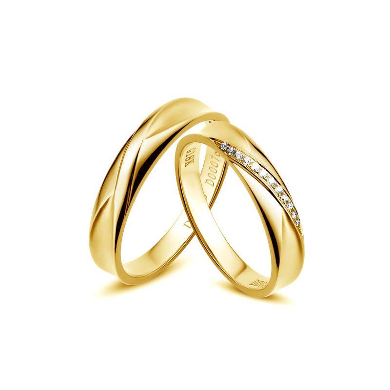 Duo d'alliances prestige - Design en diagonale -  Or jaune, diamants