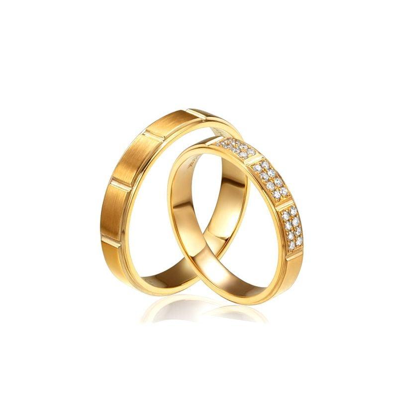 Alliances Couple -  Or Jaune - Diamants