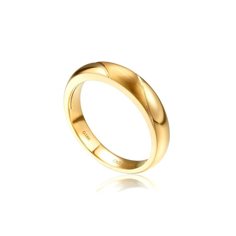 Alliance biseautée homme - Or jaune - diamant serti clos
