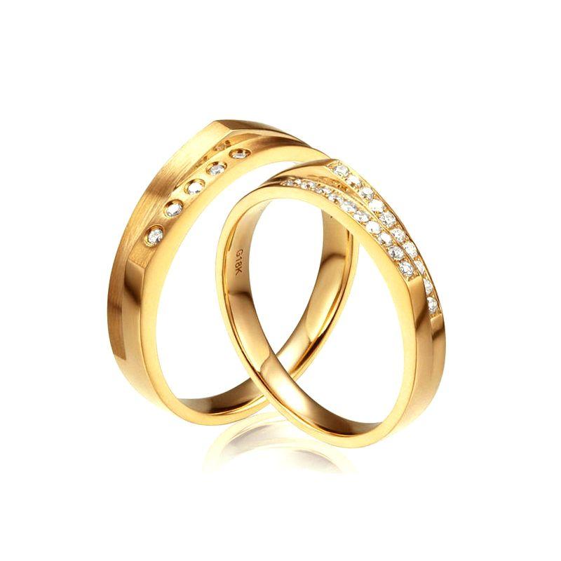 Alliances Homme et Femme en Or Jaune 18cts et Diamants