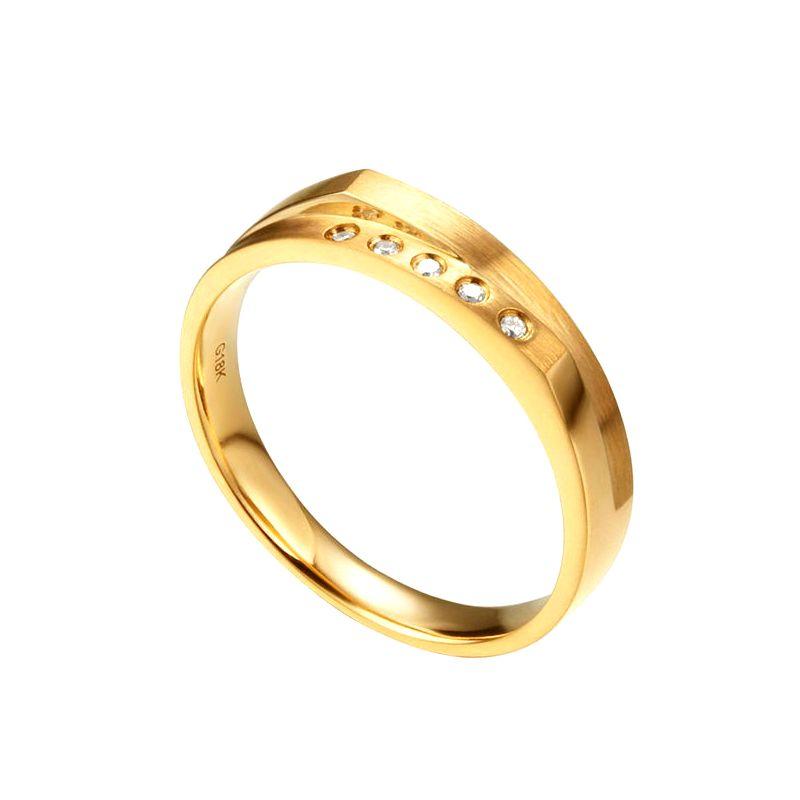 Alliance mariage 2 anneaux en 1. Homme moderne Or jaune