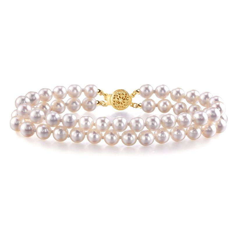 Bracelet 2 rangs de perles de culture Japon - Perles Akoya 5.5/6mm