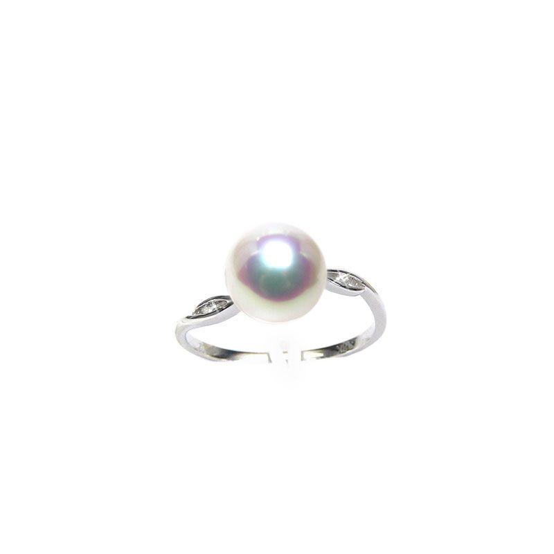 Bague or blanc - Perle Akoya blanche Japon - Diamants sertis rails