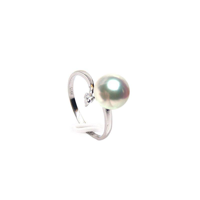 Bague or blanc - Perle Akoya blanche Japon - Diamants sertis 3 griffes