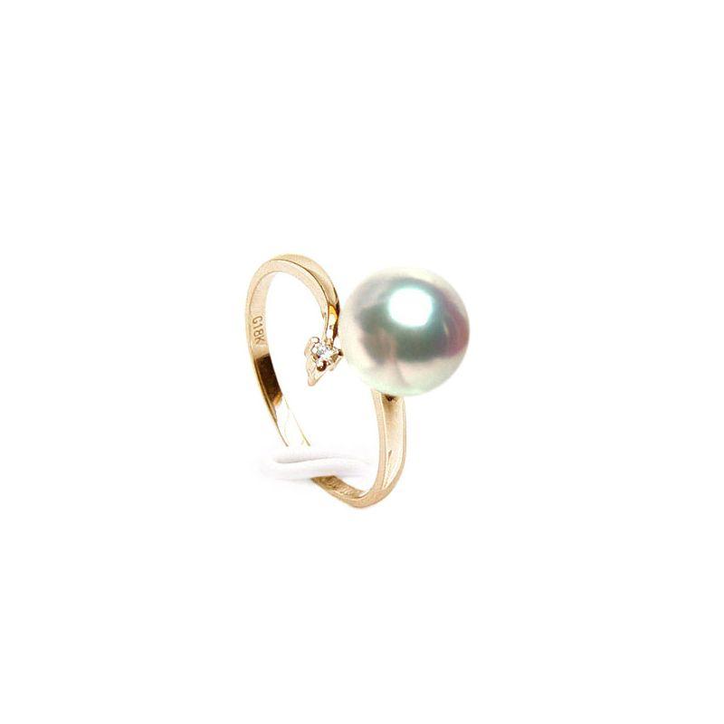 Bague or jaune - Perle Akoya blanche Japon - Diamants sertis 4 griffes