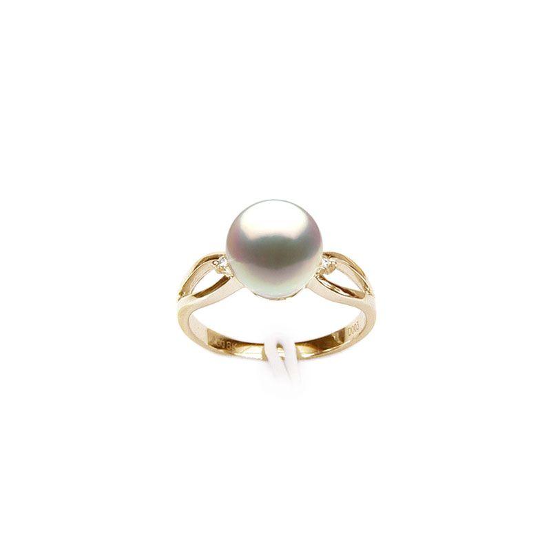 Bague jaune perle culture - Or, Perle Akoya du Japon et diamants