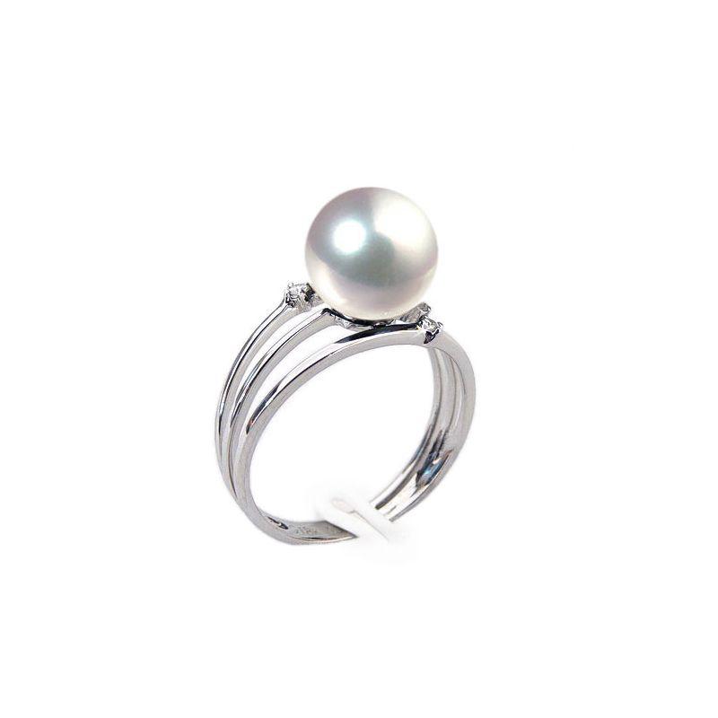 Bague or blanc - Perle Akoya blanche Japon - 3 anneaux, diamants