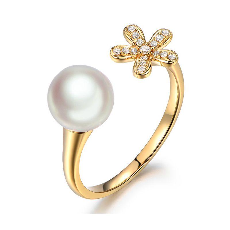 Bague fleur or jaune. Perle Akoya blanche Japon. Diamants
