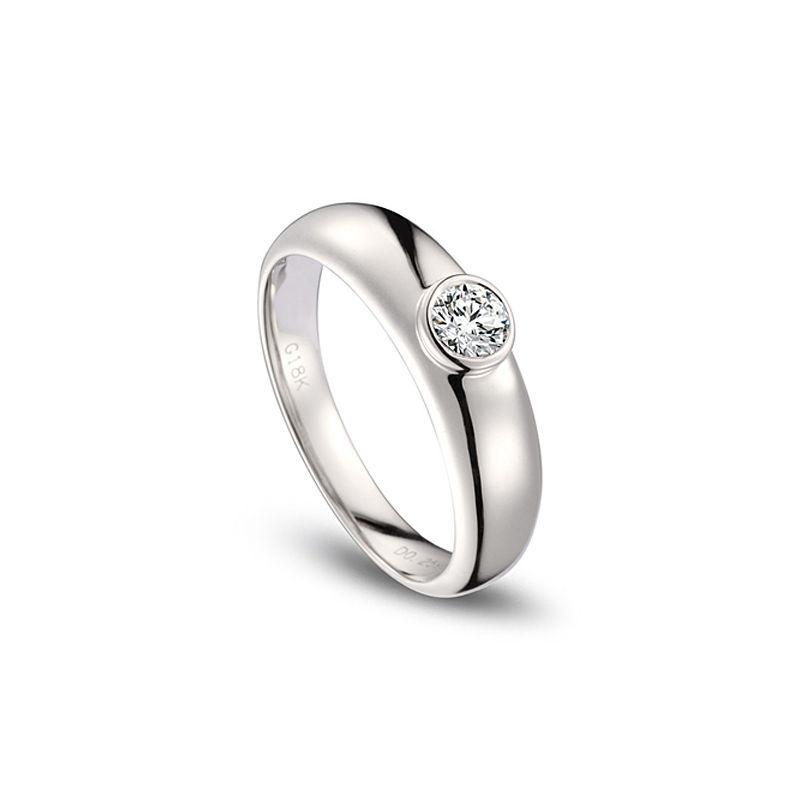 Alliance Homme. Or blanc. Diamant 0.30ct