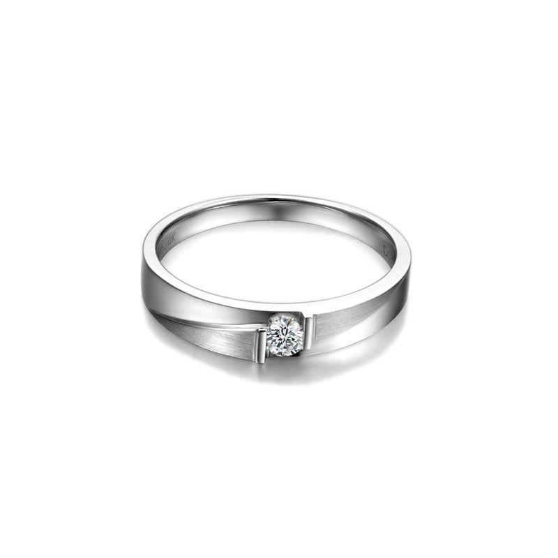 Alliance diamant sertissage demi clos - Métal or blanc 18cts - Homme