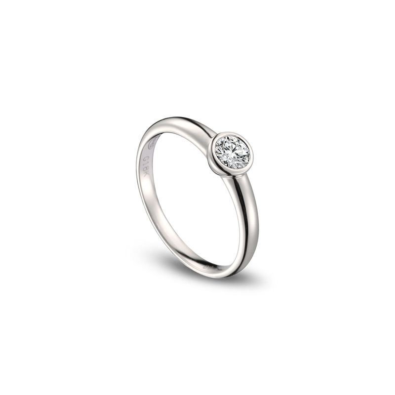 Bague alliance solitaire - Or blanc 18 cts - Diamant serti de 0.30ct
