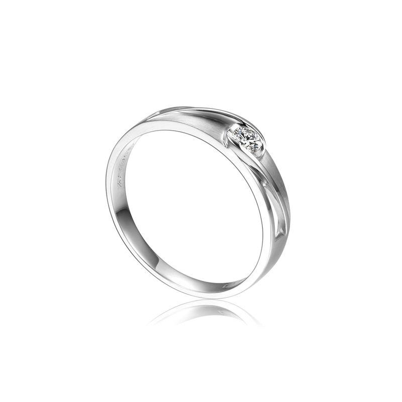 Alliance solitaire ajouré - Alliance Homme diamant platine