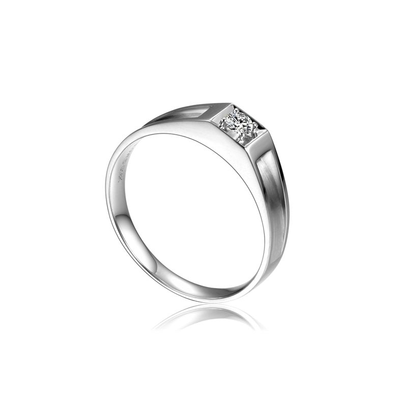 Alliance de type solitaire - Alliance Homme en or blanc et diamant