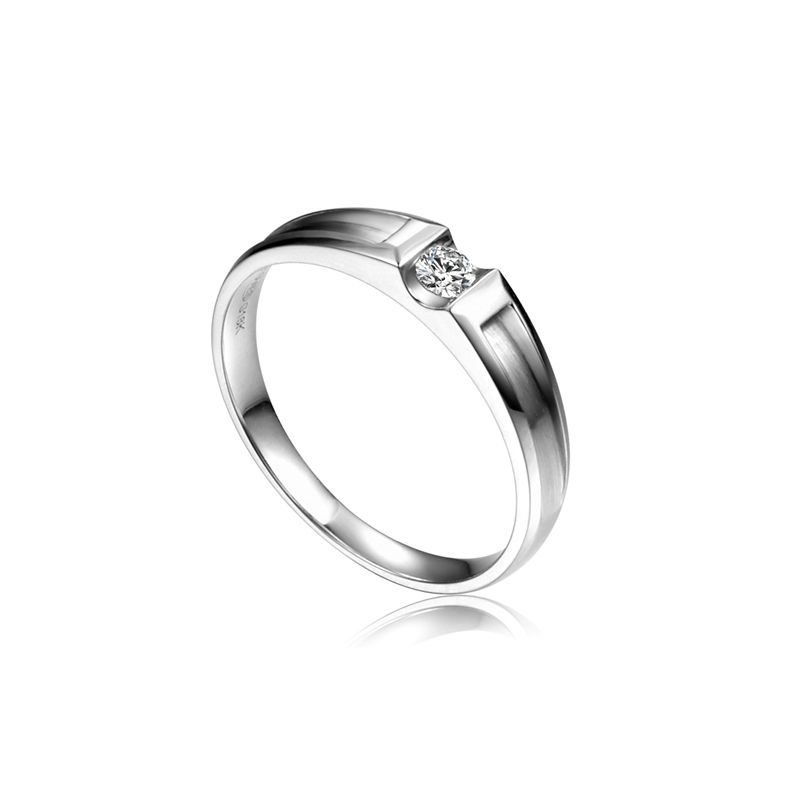 Alliance solitaire diamant -  Alliance Femme or blanc 18cts
