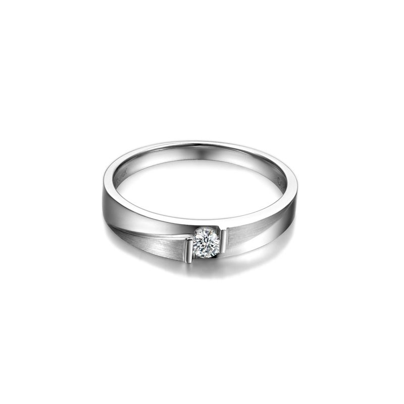 Alliance diamant sertissage demi clos - Métal or blanc 18cts - Femme