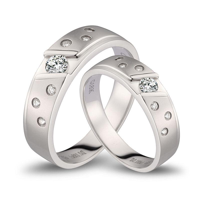 Bagues alliances constellations diamantées - En or blanc 18cts - Duo