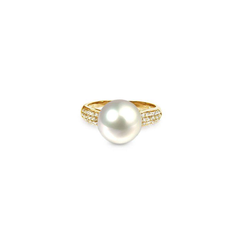 Bague de perle - Perle culture eau douce blanche - Or jaune, diamants