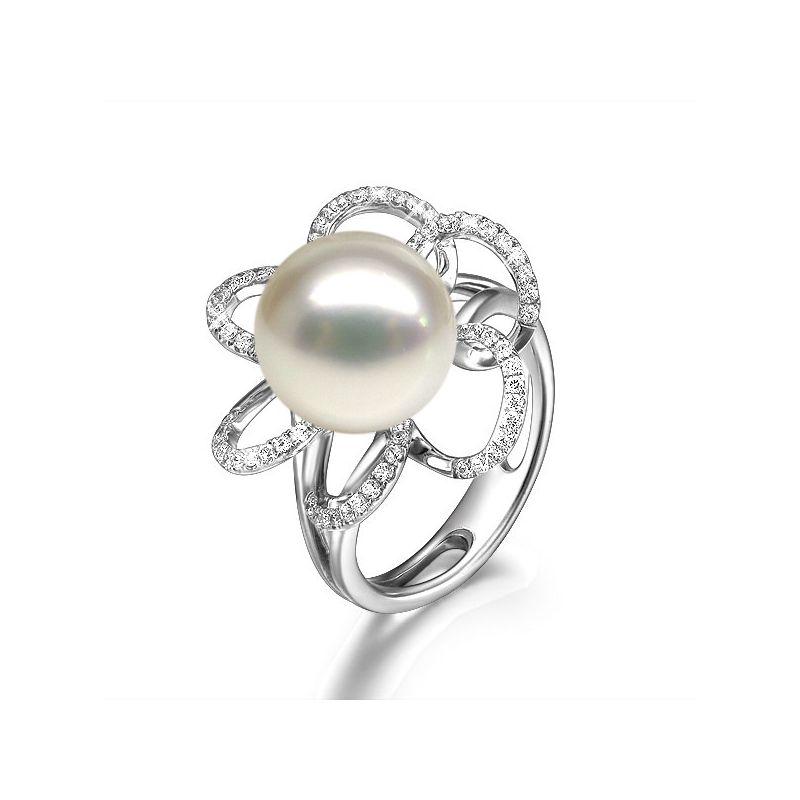 Bague fleur perlée - Pétales or blanc, diamants - Perle culture Chine