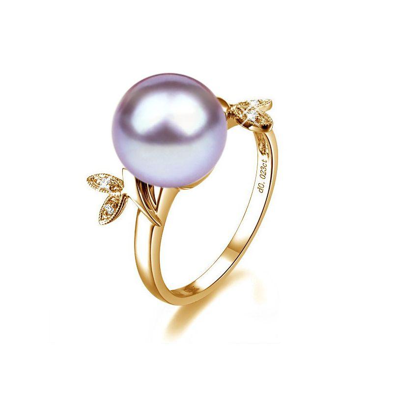 Bague en forme de feuille - Or jaune et perle lavande - Diamants