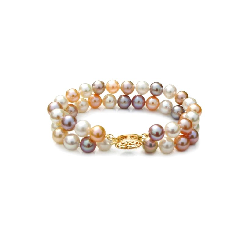 Bracelet double perles eau douce multicolores - 6.5/7mm - AAA