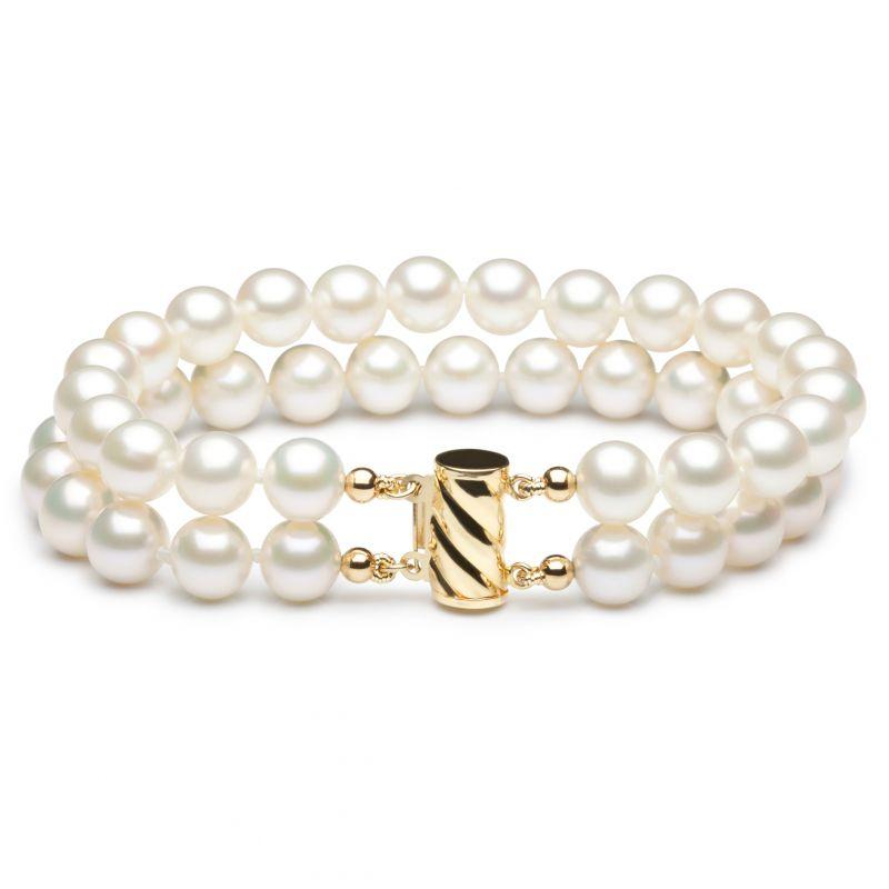 Bracelet double rang perles de culture - Perle blanche Chine - 7/7.5mm