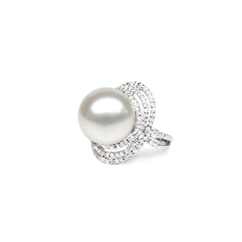 Bague perle d'Australie - Pavage diamants luminescents - Or blanc