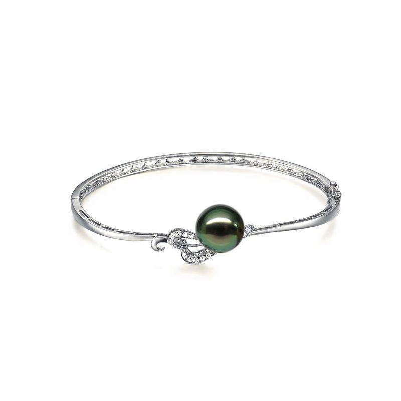 Bracelet jonc - Coeur stylisé - Perle de Tahiti - Or blanc, diamants