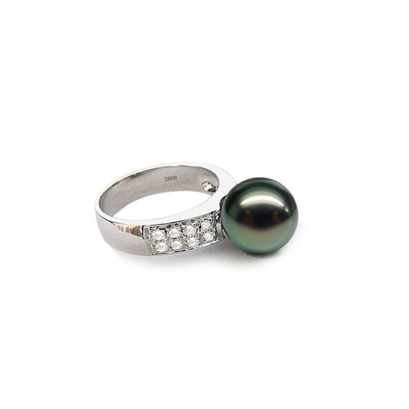 Bague Stranger - Perle de Tahiti - Or blanc, diamants