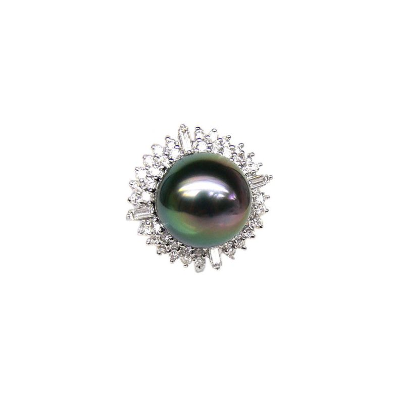 Bague auréolée de diamants - Perle de Tahiti paon rosée - Or blanc