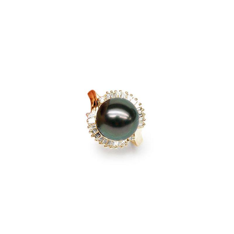 Bague couronne diamantée - Perle de Tahiti, or jaune