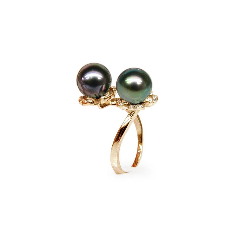 Bague You and Me - Perles Tahiti vertes, aubergines - Or jaune, diamants
