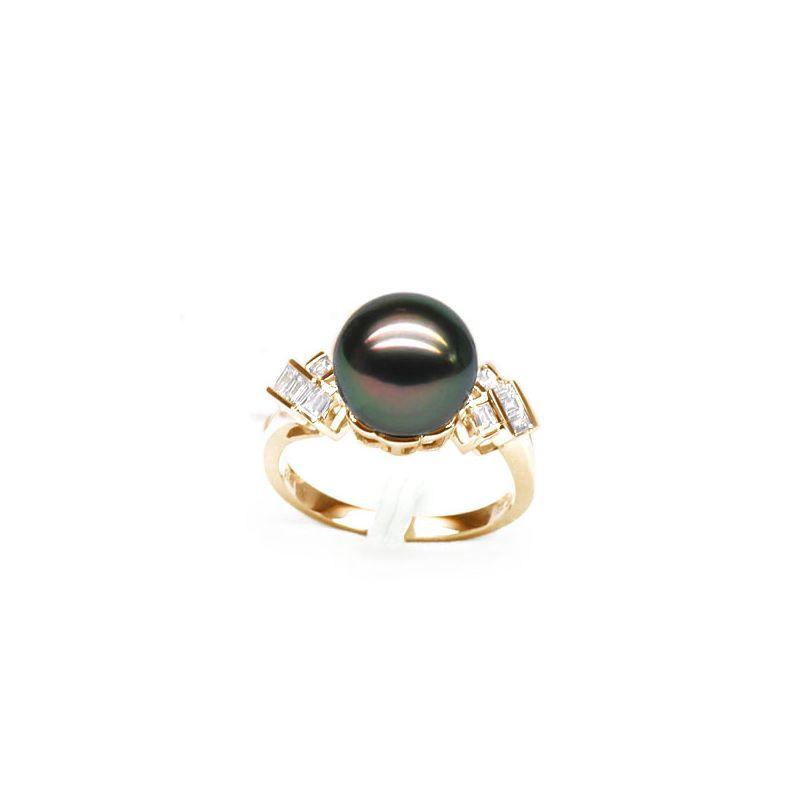 Bague géométrique or jaune - Perle de Tahiti - Diamants princesses
